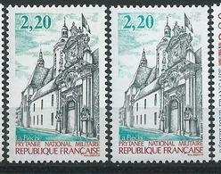 [28] Variété : N° 2479 Prythanée Militaire Façade Grise Au Lieu De Noire + Normal ** - Varieties: 1980-89 Mint/hinged