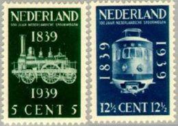 1939 Spoorwegjubileum NVPH 325-326 Ongestempeld/MH/* - Periode 1891-1948 (Wilhelmina)