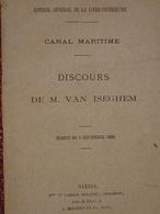 Canal Maritime, Nantes Saint-Nazaire, Discours De M Van Iseghem, 1888 - Pays De Loire