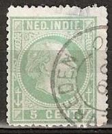 Ned Indie 1870 Koning Willem III. 5 Cent. NVPH 8 Kleinrondstempel WelteVREDEN - Dunne Plek, Mist Tandje - Nederlands-Indië