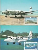 Avions En Polynésie 1980 - 4 Cartes Max - Hydravion Catalina - CAMS - DC 6 - Twin Otter - Airplane Flugzeug Aviation - Maximum Cards