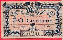 50 Centimes Chambre De Commerce De Rennes  Dans L 'état (115) - Chambre De Commerce
