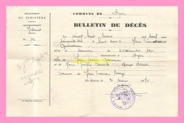 AVIS DE RADIATION DE LA LISTE ELECTORALEde La Mairie D HANVEC (29) 1947BULLETIN DE DECES  De La Commune De  SIZUN 1970 - Overlijden