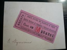 Torino-Tramways Biglietto Incollato  Società Tramways Di Torino  1902 Appena Elettrificata - Trasporti