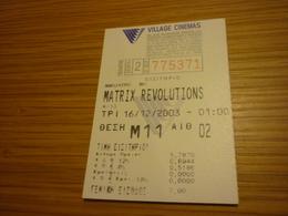 Matrix Revolutions Greece Greek Village Cinemas Movie Cinema Ticket Stub - Biglietti D'ingresso