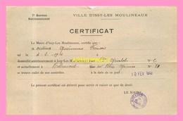 CERTIFICAT DE Radiation Du 7eme Bureau De Rationnement De La Ville D ISSY LES MOULINEAUX - Unclassified