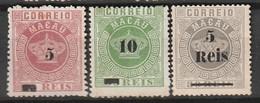 MACAO - N° 22+23+24  Nsg (1887)  Surchargé - Nuevos