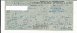 TIMBRE FISCAL De 1.500 Francs SUR VIEILLE CARTE GRISE DE RENAULT NN2 12/12/1956 - Timbres