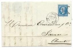 N° 22 BLEU NAPOLEON SUR LETTRE / PARIS POUR JARNAC 1864 / BELLE ENTETE ETIQUETTES D ELUXE ROMAIN & PALYART - 1849-1876: Période Classique