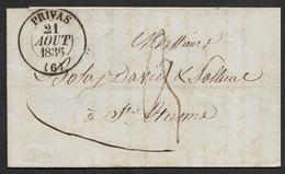 1836 - LAC - C.à.d Type 13 PRIVAS 21 AOUT 1836 A St. ETIENNE - BELLE FRAPPE - 1801-1848: Précurseurs XIX