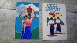 Guatemala Lot 2 Cartes Peintes Bonne Année Felices Pascuas Nuevo Ano 1934 - Guatemala