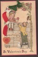 St. Valentine's Day - Greetings 1920 Echt Zijde, Silk, Pur Leine - Saint-Valentin