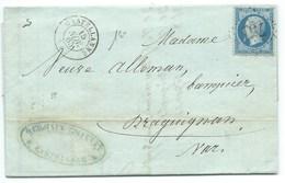 N° 22 BLEU NAPOLEON SUR LETTRE / CASTELLANNE POUR DRAGUIGNAN 1865 - Marcofilia (sobres)
