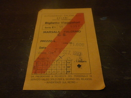BIGLIETTO BUS  MARSALA - PALERMO C.S. AUTOSERVIZI SALEMI 1992 - Autobus