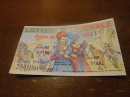 BIGLIETTO LOTTERIA NAZIONALE PALIO DI ASTI -1992 - Lottery Tickets