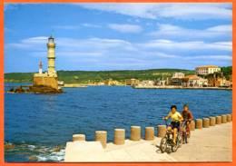 Grece Crete LA CANEE XANIA CANEA Entrée Du Vieux Port Enfants Velo Phare  Carte Vierge TBE - Grèce