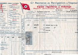 Connaissements Compagnie Nantaise De Navigation à Vapeur La Rochelle>Mogador (Essaouira) Maroc..1932 - Transports