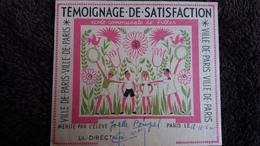 TEMOIGNAGE DE SATISFACTION VILLE DE PARIS MERITE PAR ELEVE JOELLE BOUPEL 1962 SIGNEE LA DIRECTRICE 10 PAR 12 CM - Non Classés