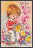 92219/ ENFANTS, Illustration, Garçonnet Avec Des Poussins, Joyeuses Pâques - Dessins D'enfants