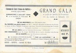 Publicité Grand Gala 1944 (au Profit Des Familles De Prisonniers) De La Commune Se St Saint-Etienne-des-Ouillères - Publicités