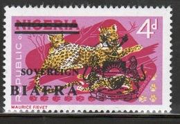 Biafra 1968 4d Definitive Stamp Of Nigeria Overprinted 'Sovereign Biafra'. - Nigeria (1961-...)