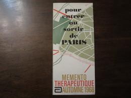 POUR ENTRER OU SORTIR DE PARIS MEMENTO THERAPEUTIQUE AUTOMNE 1968 ENDURON NEMBUTAL CALCIDRINE - Europe