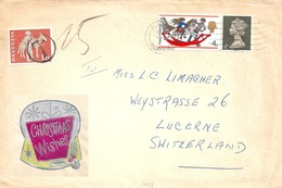 Taxierter Brief  Pinner - Luzern  (Christmas Wishes Label)            1968 - 1952-.... (Elizabeth II)