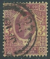 1902-10 GREAT BRITAIN USED SG 232b 3d DEEP PURPLE ORANGE YELLOW - F22-2 - 1902-1951 (Re)