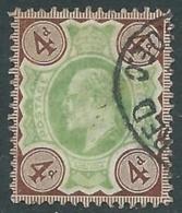 1902-10 GREAT BRITAIN USED SG 235 4d GREEN & GREY-BRN - F22 - 1902-1951 (Re)