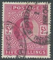 1902-10 GREAT BRITAIN USED SG 263 5s BRIGHT CARMINE - F21-10 - 1902-1951 (Re)