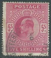 1902-10 GREAT BRITAIN USED SG 263 5s BRIGHT CARMINE - F21-10.2 - 1902-1951 (Re)