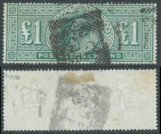 1902-10 GREAT BRITAIN USED SG 266 DULL BLUE DEEP GREEN £1 - F22-3 - 1902-1951 (Re)