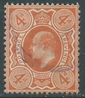 1911 GREAT BRITAIN USED SG 286 4d BRIGHT ORANGE - F22-3 - 1902-1951 (Re)