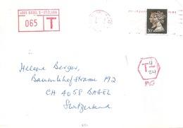 Taxierter Brief  Plymouth - Basel  (Tax-Freistempel)            1980 - Brieven En Documenten