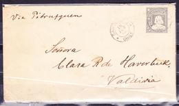 CHILE 1890 POSTAL STATIONARY COVER SANTIAGO TO VALDIVIA 5 CENTS COLUMBUS IN GREY - Chile