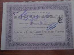 NOUVEAU - PACA, NICE - FORCE MOTRICE DES ALPES MARITIMES - ACTION 500 FRS - NICE 1900 - Actions & Titres