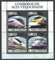 ST THOMAS AND PRINCE 2006 TRAINS RAILWAYS SILVER FOIL M/SHEET MNH - Sao Tome And Principe