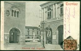 CARTOLINA - CV382 TREVISO Piazza Dei Signori, FP Viaggiata 1901, Ottime Condizioni - Treviso