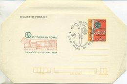 ITALIA - BIGLIETTO  POSTALE 1984 - FIERA DI ROMA - ANNULLO SPECIALE FDC ROMA FILATELICO - 6. 1946-.. Repubblica