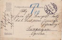 Feldpostkarte Wien Nach K.u.k. Landsturm Eisenbahn Sicherungs Komp In Opcina  - 1916 (39324) - Briefe U. Dokumente