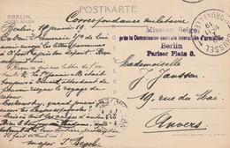 Cachet Mauve Mission Belge Sur CPA Hotel Adlon (Berlin) - Commission Centrale Interalliée D'armistice - Berlin 1919 - Marcophilie