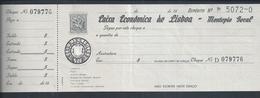 Cheque Da Caixa Económica De Lisboa - Montepio Geral. Utilizado Entre 1950/1980. - Cheques & Traveler's Cheques