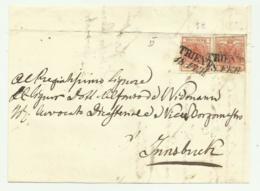 COPPIA   FRANCOBOLLI DA 3   KREUZER TRIENT 1857  SU FRONTESPIZIO - 1850-1918 Keizerrijk