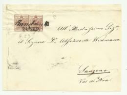 COPPIA   FRANCOBOLLI DA 6   KREUZER INNICHEN  1857  SU FRONTESPIZIO - 1850-1918 Impero