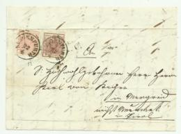 COPPIA FRANCOBOLLI DA 3 E 6  KREUZER KLAGENFURTH 1852  SU FRONTESPIZIO - Usati