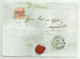 FRANCOBOLLO 3  KREUZER LAVIS 1853  CON SIGILLO CERALACCA INTEGRO  SU FRONTESPIZIO - 1850-1918 Impero