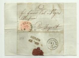 FRANCOBOLLO  3  KREUZER BRUNECK  1858  CON SIGILLO CERALACCA INTEGRO  SU FRONTESPIZIO - Oblitérés