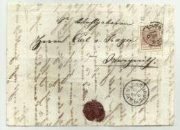 FRANCOBOLLO  6  KREUZER INNSBRUCK  1857   CON SIGILLO CERALACCA INTEGRO  SU FRONTESPIZIO - Usati