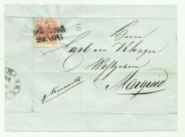 FRANCOBOLLO DA 3  KREUZER BOTZEN  1852 CON BUONI MARGINI  SU FRONTESPIZIO - Usati