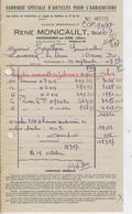 CHATEAUNEUF SUR CHER Facture MONICAULT 1957 Articles Pour Agriculture - Agriculture
